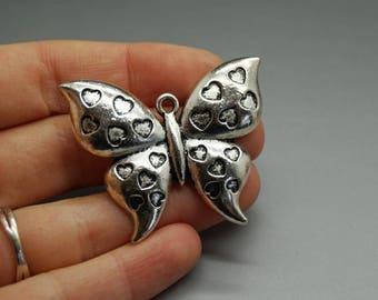 Silver Butterfly (B61) heart charm