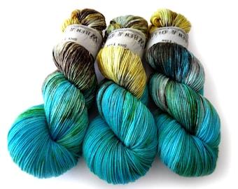 Sock Yarn Superwash Merino/Nylon 85/15 4ply Handdyed Yarn: PATINA