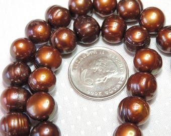 Freshwater Pearls - Dark Copper Rose
