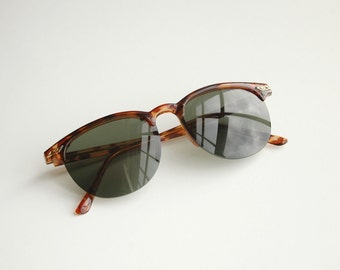 Amber tortoise shell vintage polycarbon composite Clubmaster sunglasses M79f