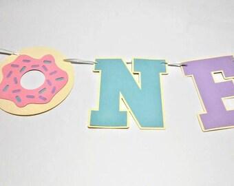 Donut first birthday banner Donut one banner high chair donut banner