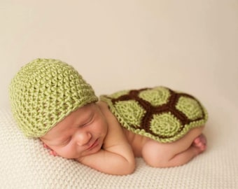 Newborn Turtle Set | Baby Turtle Outfit | Baby Turtle Costume | Crochet Turtle Outfit | Newborn Photo Prop | New Mom Gift | Baby Shower Gift