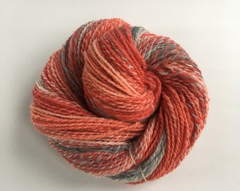 Hand Dyed and Spun Yarn, Southdown fiber, Cinders.