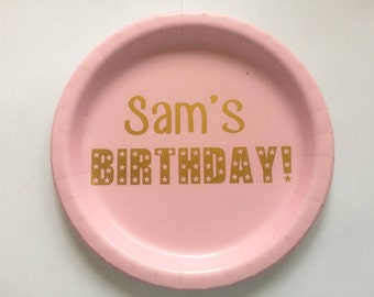 """9"""" Personalised Paper Party Plates, Birthday, Hen Party, Bridal Shower, Baby Shower"""