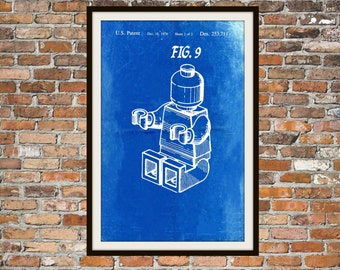 Lego Patent - Blueprint Art of a Lego Figure Man Person No.10 Technical Drawings Engineering Drawings Patent Blue Print Art Item 0083