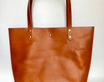 Brown Leather Tote - The Wild and Free Company