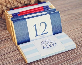 NAUTICAL BIRTHDAY Party Printable Candy Bar Wrappers - Aqua and Navy
