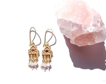 Rose Quartz Earrings. Beaded Earrings. Gemstones. Healing Jewelry
