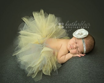 Newborn Tutu, Baby Tutu, Tutu Set, Newborn Tutu Set, Yellow and Gray Tutu, Photo Prop, Tutu and Headband, Singed Rose, Couture