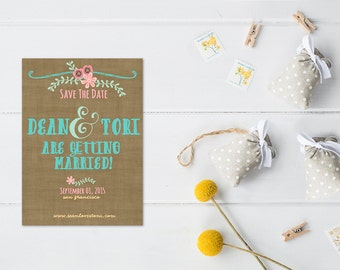 Whimsical Save The Date Cards in Teal & Coral Pink  / PRINTED Save-The-Date for Whimsical Weddings / Anthropologie - Style