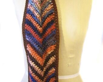 Chevron Chunky Scarf - Knit Scarf - Hand Crocheted Scarf