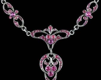 Antique Georgian Pink Paste Silver Necklace