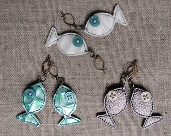Handmade fabric fish earrings