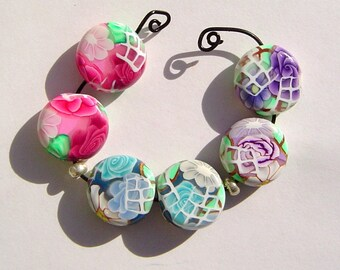 Floral Polymer Clay Coin Bead Earring Pairs 3 Sets (Six Beads) Earring Components