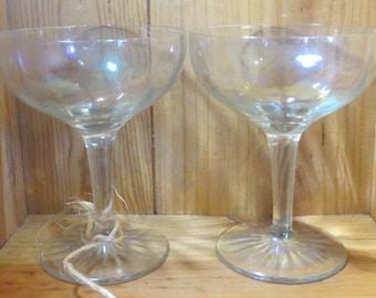 Pair of Vintage Goblets, Stemware, Gold Wheat Pattern, Faceted Stem, Smooth foot, Midcentury Modern, Wine, Berries, Dessert