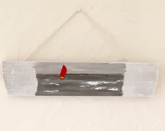 Painting on wood - Red Sailboat