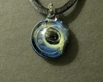 Galaxy Pendant Silver Fume & Boro Glass Lampworked Focal Bead