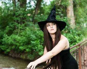 Black Witch or Wizard Hat With Lovely Textured Pattern