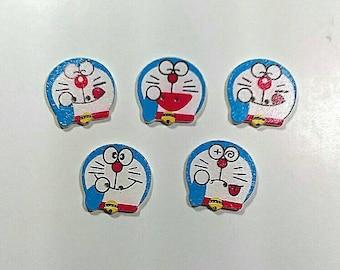 Anime cat wooden buttons - cartoon buttons