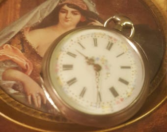 1821 Antique French solid silver pocket watch hand-painted Florals