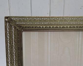 Ornate 8 x 10 Filigree Brass Picture Frame Easel Back  Photo Frame