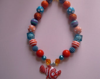 Disney Finding Nemo Girls Bubblegum Bead Necklace, Chunky Bead Necklace, Toddler Necklace, Kids Jewelry, Girls Costume, Finding Dory
