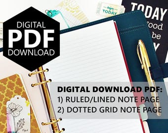 """PDF Download Dotted-Grid & Ruled-Lines, 5.5""""x8.5"""" Half-Letter size (fits into A5 Planners)"""
