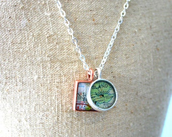 Custom Map Pendant, Square Map Charm, Mini: You Name Your City or Hometown, In Silver Pewter, Gold or Copper