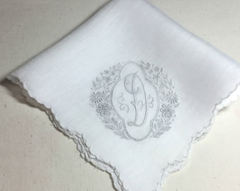 Vintage Initial D Handkerchief with lots of Hand Embroidery - Hankie Hanky