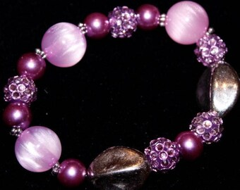 Springtime Collection/Purple and Silver Bracelet