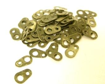 100pc antique bronze finish chain tabs-6117