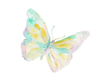 Watercolor Butterfly Print, Garden Art, Watercolor Butterfly, Monarch Painting, Monarch Print, Nursery Art, Nursery Watercolor, Insect Art