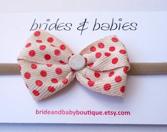 Red Spotted Bow Baby Headband