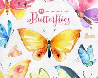 Butterflies Watercolour: 12 Separate hand painted clipart, diy elements, invitation, wedding, greetings, flowers, wings, digital butterfly