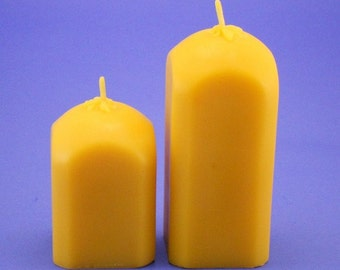 100% Pure Beeswax Candles, 2.4 x 3 and 2.4 x 5 Square Beeswax Pillar Candles, Pair of Candle Pillars, Pure Beeswax Pillars, Organic Candles