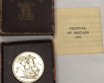 1951 George VI Five Shillings coin in original box with original leaflet coin is 3.9 cm diameter box 6.8 cm