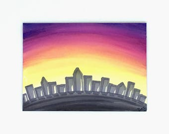 Sunset Artist Trading Card, Cityscape ATC ACEO, Watercolour Art Card, Miniature Sunset Painting, Original ATC Painting Trading Card