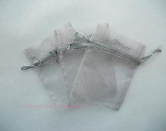 Organza Favor Bags 50 Silver Gray Organza Gift Bags with Drawstring,4x6 In Sheer Fabric Favor Bags Party ,Flat Organza Bag