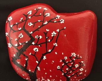 Japanese Cherry Blossom Tree Painted Rock