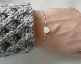 Heart bracelet, Opal heart bracelet, Blue opal bracelet, Sterling silver bracelet, Heart bracelet, Simple bracelet, Everyday bracelet
