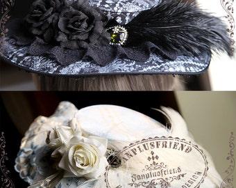 Exclusive Milliner Rococo Vintage Elegant Gothic Retro Handmade Flat Hat Zircon Oringal print jewelry decorated