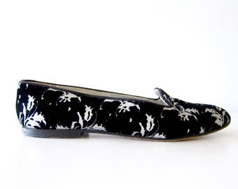 50% of Proceeds go to Planned Parenthood! Vintage Black & Silver Velvet Smoking Shoes, Women's Shoes Size 8, Ballet Flats by Joan Helpern