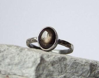 Custom Black Sapphire ring, Raw Oxidized silver ring, Star Sapphire Ring, Hammered silver band, FOR ORDER