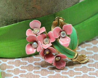 Vintage Pink Enamel and Rhinestone Spring Flower Pin
