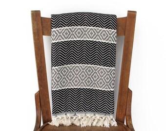 PESTEMAL türkische Handtuch Couch werfen Sofa werfen Decke handgewebter Baumwolle türkische Bad Handtuch Fouta Badetuch Strand Wrap schwarz grau LALE