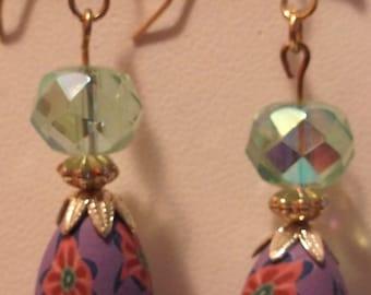 HJE-0012-H, Pierced Purple and Green Dangle Earrings
