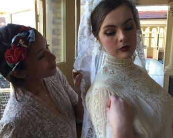1920s embroidered cornelli work cotton tulle wedding scarf/veil