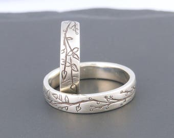 Unusual Wedding Bands Sterling Silver Ring Artisan Jewelry Nature Jewelry Handmade Jewelry Made to Order Wedding Bands Silversmith Goldsmith