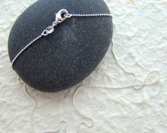 """Sterling Silver 1 mm ball chain necklace  18"""" length with lobster claw clasp"""