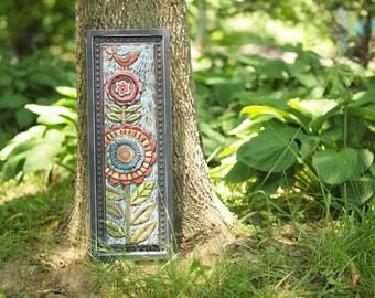 Colorful Wall Art Mosaic Wall Art Mosaic Art Mosaic Tile Colorful Pottery Vertical Art Bird Art Flower Art Handmade Ceramic Tile Wall Art